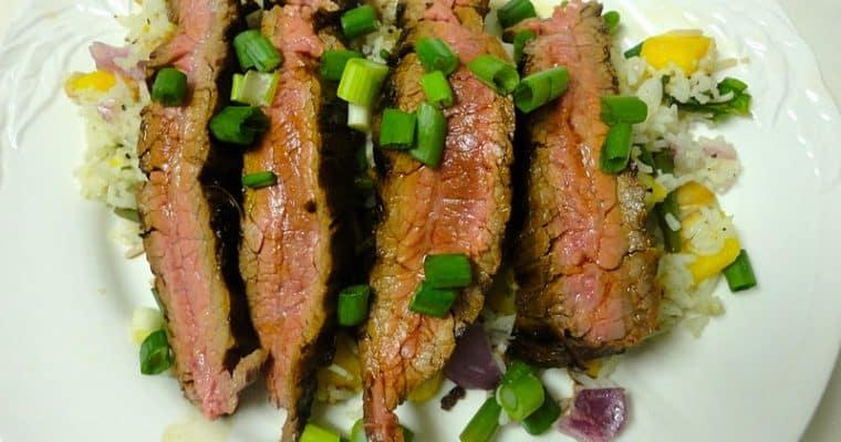 Asian Spiced Flank Steak With Basmati Rice and Mango Salad