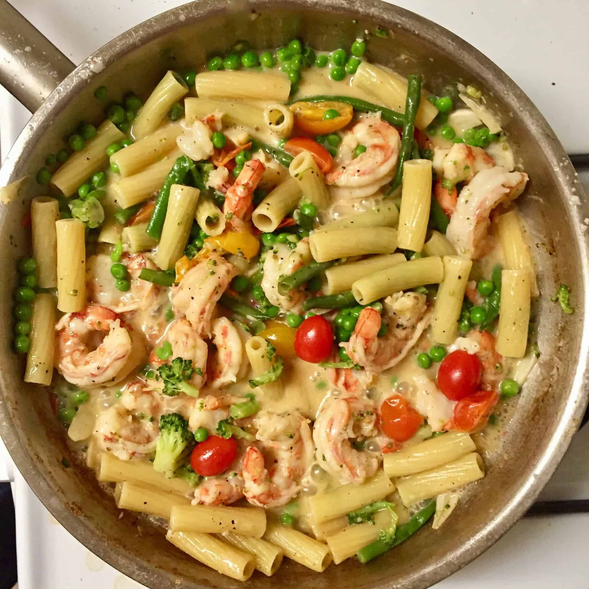 After the longest deep freeze in memory…a breath of Spring: Pasta Primavera with Pink Shrimp